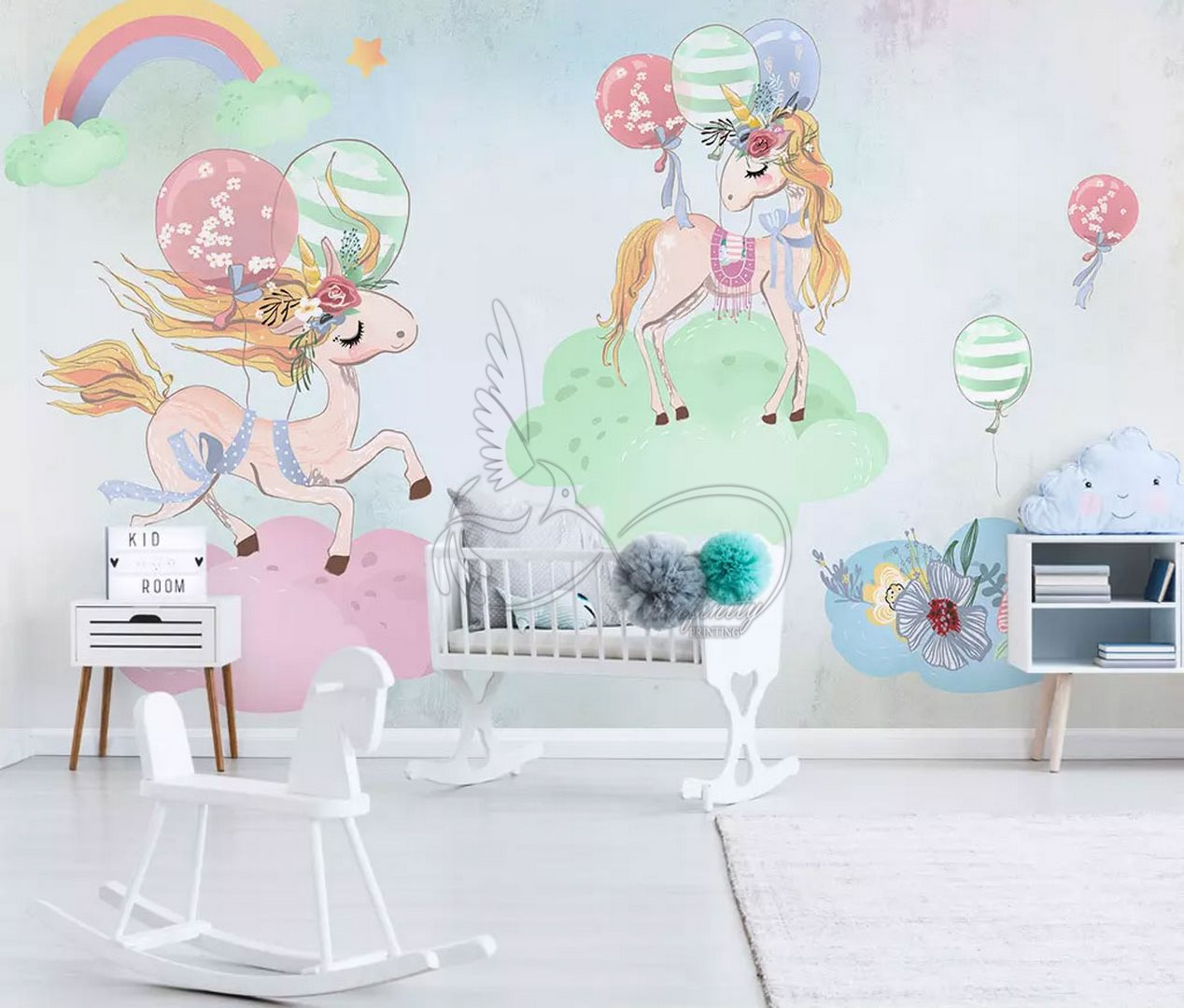 Fantasy child room design wall poster printing code 3142