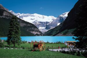 Download green lake and mountain wall poster design