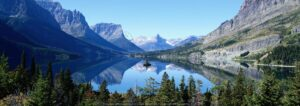 Download blue lake, mountain and forest wall poster design