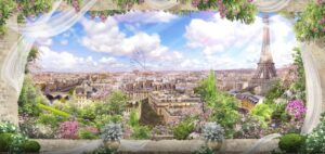 Download the wall poster design of the city of Paris and the Eiffel Tower