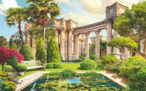 Download wall poster design of Roman columns and flower garden and pool