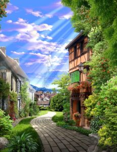 Download village wall poster design and paving and flowers