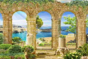 Download wall poster design of Roman columns with sea and boat views