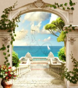 Download the poster design of the stone stairs of the terrace facing the sea and the boat