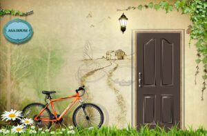 Download wall poster design of wooden door and bicycle and white flowers