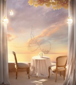 Download wall poster design of table and chairs on the terrace and the sea