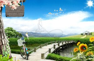 Download the design of the wall poster of the cottage and the bridge over the river and the sunflower bicycle