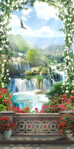 Download wall, waterfall, bucket and flower wall poster design