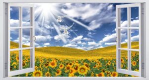 Download window and poster wall design of sunflower and birds