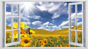 Download Window and Farm Sunflower and Butterfly Wall Poster Design