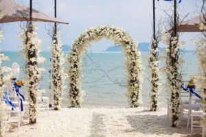 Download beach wall poster design and wedding ceremony
